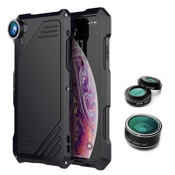 198 ° Fisheye linse + 15x makro objektiv + vidvinkelobjektiv + IP54 vanntett støtdempende sinklegeringsveske til iPhone XS Max