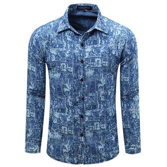 पुरुषों के लिए डेनिम मुद्रित फैशन आरामदायक स्टाइलिश टर्न-डाउन कॉलर शर्ट