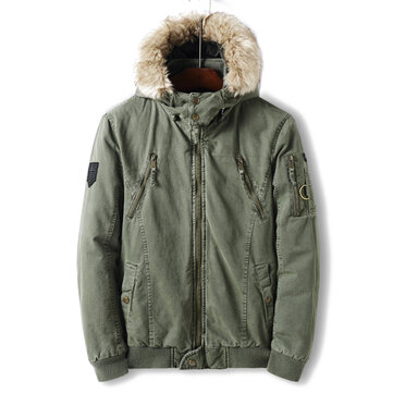 Mens Thick Warm Winter Hooded Casual Jacket Solid Color Faux Fur Collar Coat