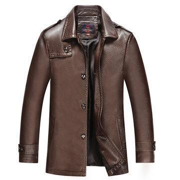 पुरुषों प्लस आकार पु चमड़ा जैकेट लैपल ठोस रंग गर्म स्लिम फिट कोट्स