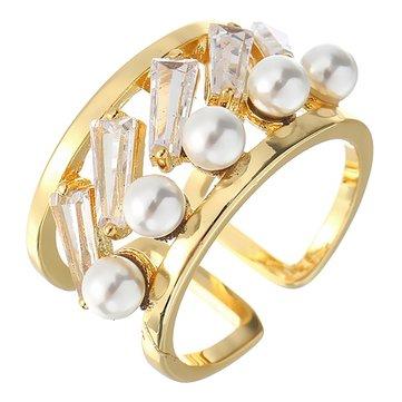 Anillo de abalorio hueco de lujo JASSY® Zircon para mujer Anillo de abalorio plateado oro de 18 quilates Ancho Banda