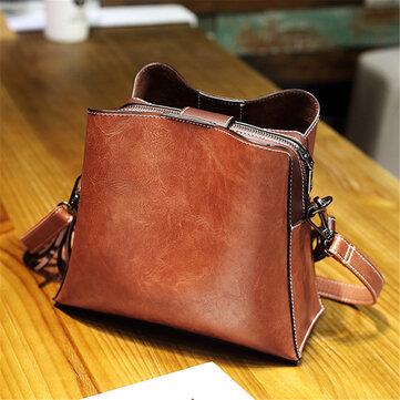 Women Vintage Faux Leather Crossbody Bag Shoulder Bags Bucket Bag Crossbody Bag