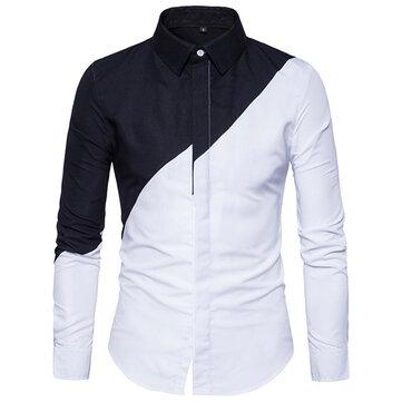 Chic Trendig Svart Vit Splicing Snygg Designer T-shirt för män
