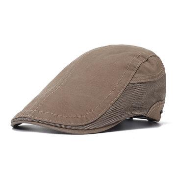 Collrown Mens Ngoài trời chắp vá mùa hè Mũ Beret thoáng khí Mũ cứng Tin tức Cabbie Flat Caps Visor