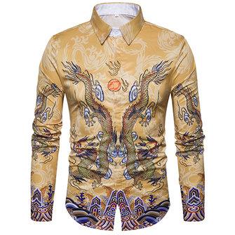 Mens Dragon Printing Fashion Turn Down Collar Long Sleeve Design Shirts