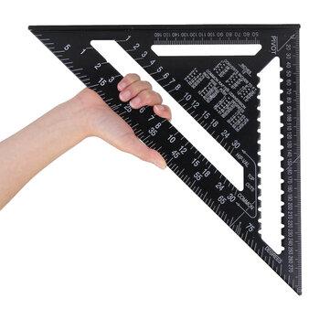 Raitool AR01 43X30X30cm Metric Aluminum Alloy Triangle Ruler Black Triangular Ruler