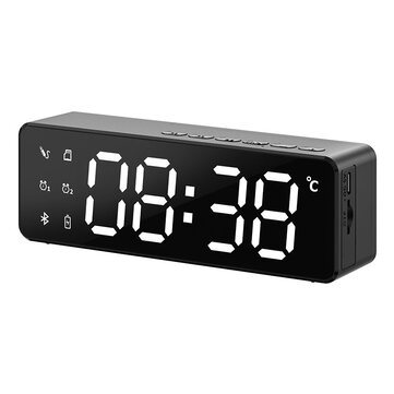 B119 bluetooth 5.0 Speaker Alarm Clock Multiple Play Modes LED Mirror Speaker with FM Function 360° Surround Stereo Sound Real-time Temperature Display 2800mAh
