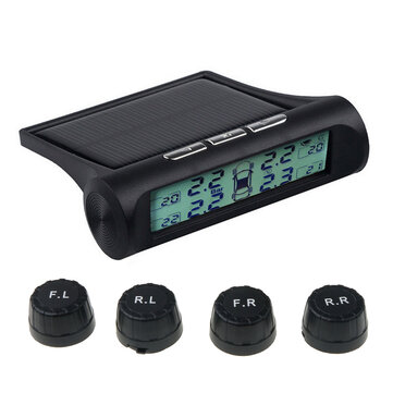 Car TPMS Tire Pressure Monitoring System HD Digital Display Solar Charging Auto Alarm tool 4 external tyre Sensor