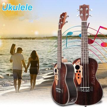 Üzüm Şekil Delikli 21 İnç Dört Dizeleri Gülağacı Ukulele Gitar