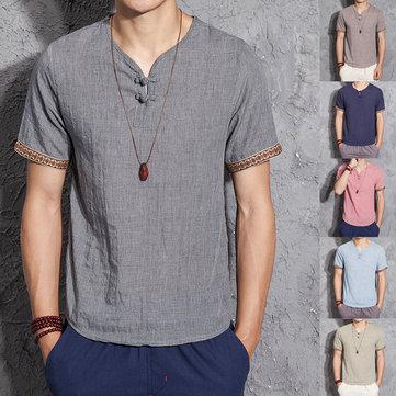 Erkek Pamuk Keten Çin Tarzı Retro Katı Renk Yaz Arkaik Gömlek