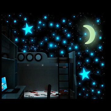 100Pcs Glow In The Dark Stars  Sticker Beautiful 3D DIY Home Decal Art Luminous Wall Stickers