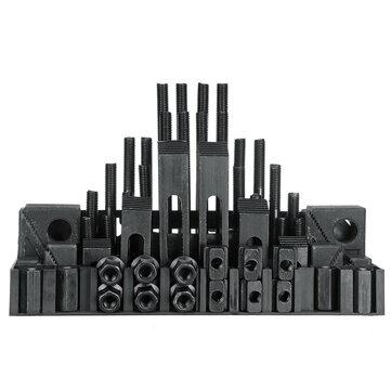 58pcs Clamping Tools Kit For Milling / Drilling M12 Studs 14mm Slot Step Block Set