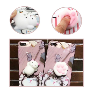 Bakeey™ Cartoon 3D Squishy Squeeze Slow Rising Soft Lazy Cat Claws PC Case for iPhone 6 6s&6 6sPlus