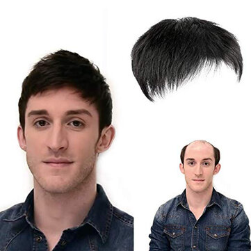 Natural Black Short Men Topper Wig Real Human Hair Toupee Clip For Male Guy Daily Wear for sale in Litecoin with Fast and Free Shipping on Gipsybee.com