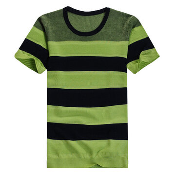 पुरुषों की पट्टी ओ-गर्दन स्लिम फिट फैशन आरामदायक आरामदायक टी शर्ट