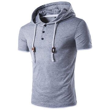 ग्रीष्मकालीन पुरुषों आरामदायक हूडेड रस्सी टी शर्ट शुद्ध रंग लघु आस्तीन स्वेटर टी शर्ट