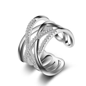 Apilable Twining Clear CZ Ring deslumbrante zirconia anillos de dedo de compromiso para Mujer