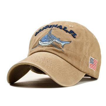 Men Women Denim Sunshade Hat Embroidered Letter Shark Washed Baseball Cap