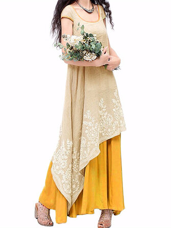 Vintage Women O-Neck Floral Crochet Embroidery Layered Maxi Dress
