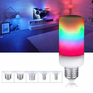 E27 E14 E26 E12 B22 7W Flame Effect 2835SMD 3 Modes LED Rainbow Light Bulb AC85-265V