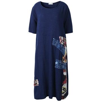 आरामदायक महिला ग्रीष्मकालीन पुष्प मुद्रण पैचवर्क पार्टी ड्रेस