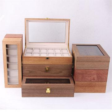 6/10/12 Slots Solid Wooden Watch Box Display Organizer Jewelry Storage Case