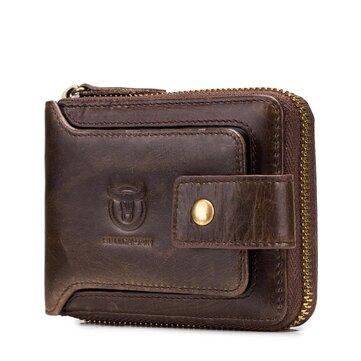 Bullcaptain RFID Antimagnetic Vintage Genuine Leather 11 Card Slots Coin Bag Zipper Wallet For Men