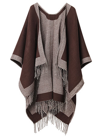 Brief Style Women Contrast Color Knitted Shawl Wrap With Tassels