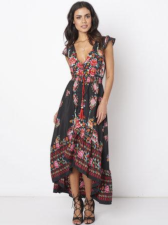 महिलाओं के लिए जातीय शैली पुष्प मुद्रित लघु आस्तीन दीप वी गर्दन पोशाक