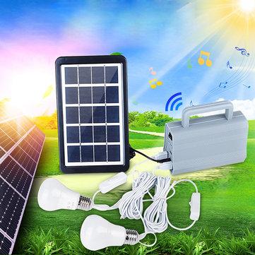 屋外のキャンプのための2つのLEDの電球の緊急ランプが付いている3W太陽発電機の家DCシステムキット