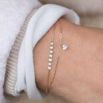 Trendy Heart Crystal Charm Bracelet Multilayer Bridal Wedding Crystal Bracelets for Women