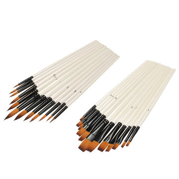 12Pcs/Set Nylon Artist Watercolor Paint Brush Acrylic Painting Brush Art Supplies Flat head Pointed