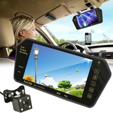 7 Pollici TFT LCD Monitor per specchietti retrovisori per auto bluetooth + retromarcia fotografica