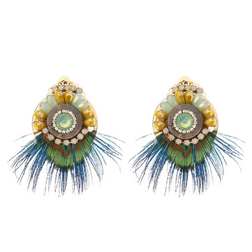 Bohemio étnico Pendientes 14 quilates chapado en oro pluma Opal declaración redonda retro Oreja Clip para Mujer regalo