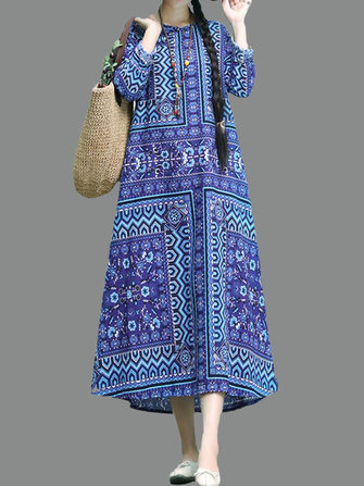 Vintage Women Folk Style Printed Long Sleeve Dress with Pocket