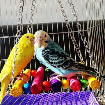 Parrot Toy Colorful Cầu treo bằng gỗ Cầu treo Thanh đứng Phụ kiện lồng chim