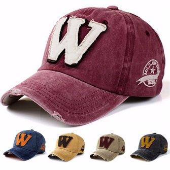Unisex Letter W Embroidery Denim Washed Baseball Cap Vintage Adjustable Snapback Hat