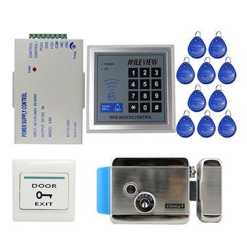 RFID Door Access Control System Kit Set with Electric Control Door Lock Keypad Keyfobs Unlock Button