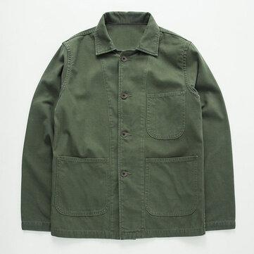 Áo khoác cotton nam thiết kế bỏ túi Vintage dày ấm dài tay áo thường