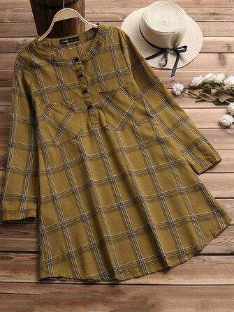 महिला बटन कॉलर लंबी आस्तीन प्लेड शर्ट पोशाक खड़े हो जाओ