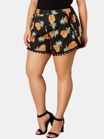 Buy Plus Size Women Pineapple Print Tassel High Waist Summer Casual Shorts with 10 on Gipsybee.com