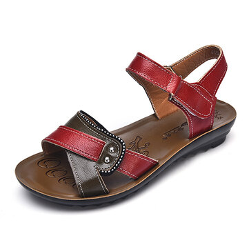 Women Leather Shoe Hook Loop Casual Comfy Flat Sandals