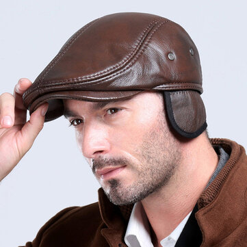 Mens Vintage Genuine Cowhide Beret Caps Earflaps Windproof Duckbill Warm Black Brown Hats Coupon Code and price! - $30