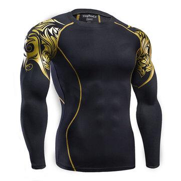 पुरुषों आंदोलन गति सूखी टी शर्ट फिटिंग लंबी आस्तीन लोचदार प्रशिक्षण कसरत खेल शीर्ष