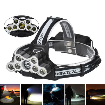ELFELAND 6-Modes 7xT6+2xQ5 LED Head Lamp USB Rechargeable Camping Head Torch With SOS Whistle Function
