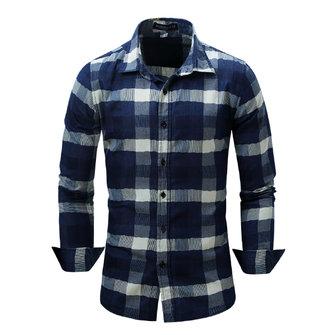 पुरुषों प्लेड सिलाई टर्न-डाउन कॉलर स्प्रिंग शरद ऋतु लंबी आस्तीन फैशन आरामदायक शर्ट