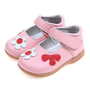 Zapatos de vestido de las muchachas del lazo del gancho del cuero artificial de la flor linda