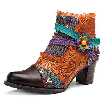 SOCOFY Lace Splicing Jacquard Pattern Genuine Leather Zipper Ankle Boots