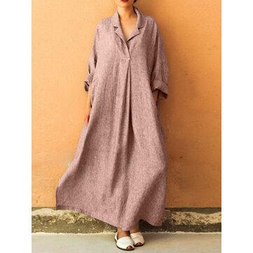 Plus حجم الخامس عنق طويل كم الصلبة اللون فضفاض فستان ماكسي