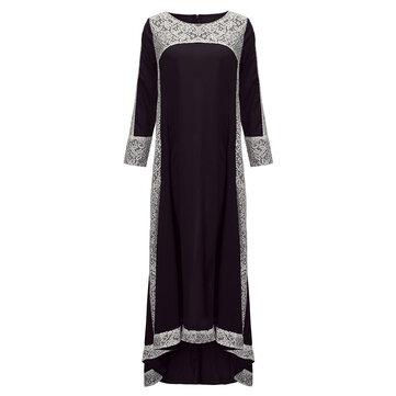 सेक्सी विंटेज महिला फीता क्रॉच सिलाई अनियमित कॉकटेल मैक्सी ड्रेस